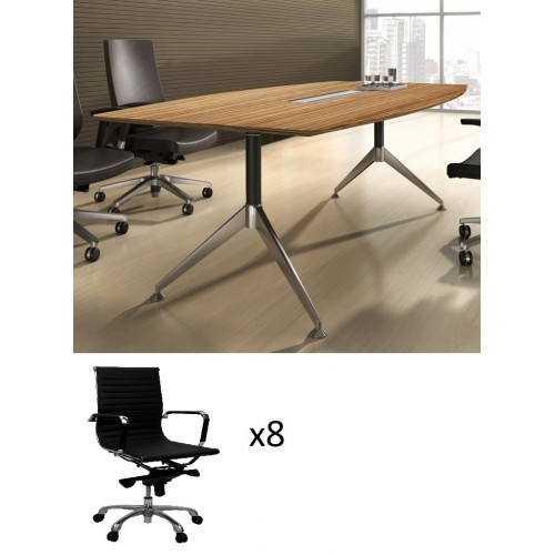 Novara Boardroom Table 2.4m Zebrano with 8 Chairs