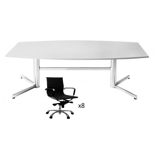 Boardroom Table 2.4m on Chrome Legs with 8 Chairs