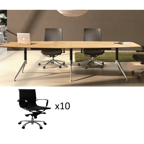 Potenza Boardroom Table 3m with 10 Chairs
