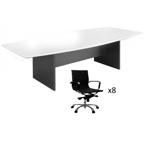 Boardroom Table  2.4m on Graphite H-Base with 8 Chairs