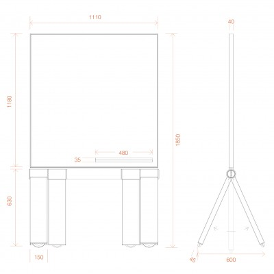 BUZZ Double Sided  Mobile Porcelain Whiteboard