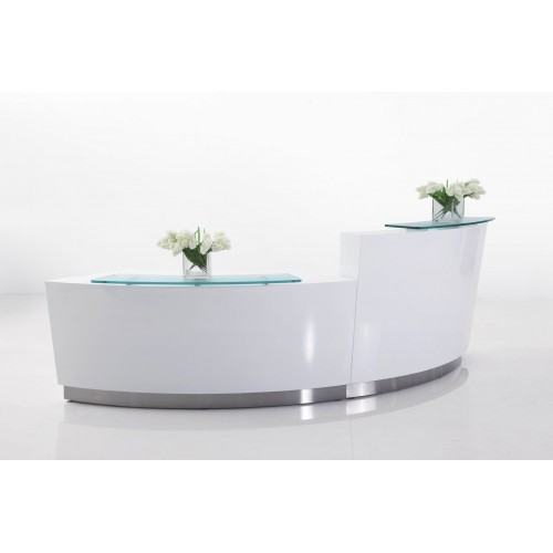 Evo Reception Desk Gloss White 2 Piece