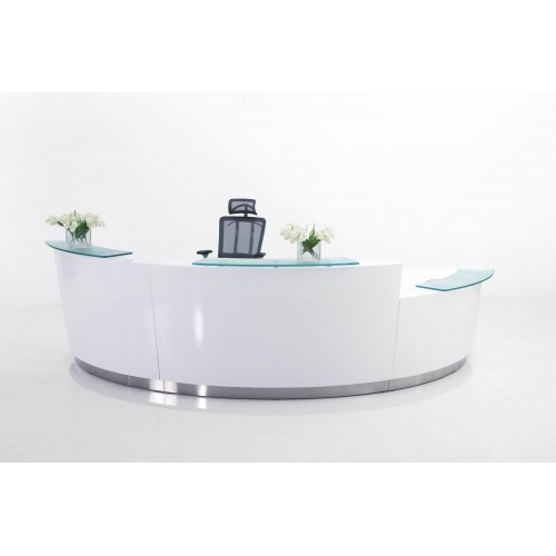 Evo Reception Desk Gloss White 3 Piece