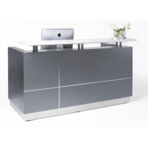Hugo Reception Desk Metallic Grey