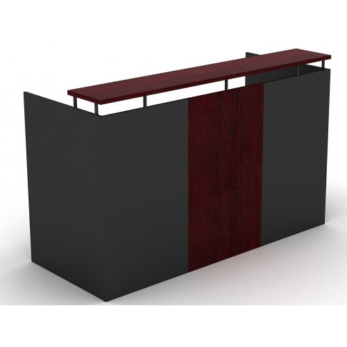 OM Reception Desk Redwood and Graphite