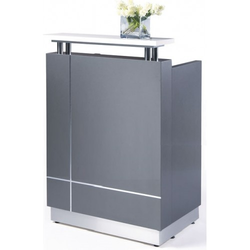 Receptionist Reception Desk Metallic Grey