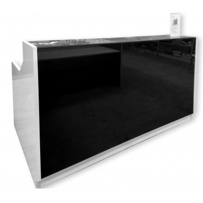 Roma Glass Reception Desk Black & White