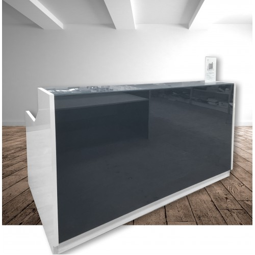 Roma Glass Reception Desk Grey & White