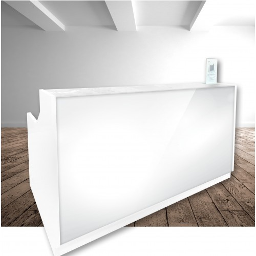 Roma Glass Reception Desk White