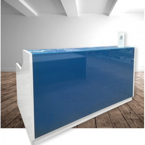 Roma Glass Reception Desk Blue & White